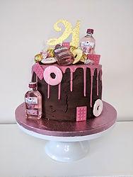 Pink gin & drip 21st birthday cake