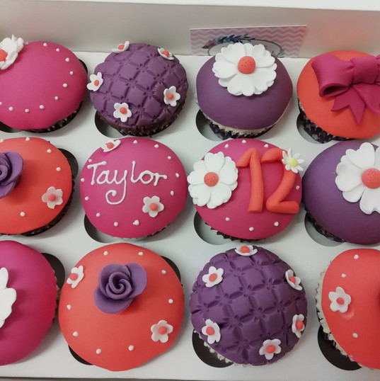 funky coloured 12th birthday cupcakes