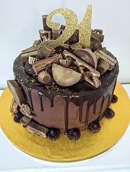 21st chocolate drip cake