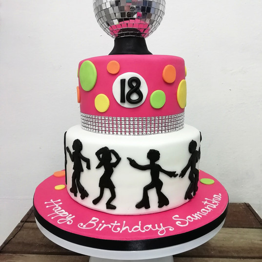 Disco party 18th birthday cake