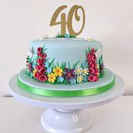 Wild flowers 40th birthday cake