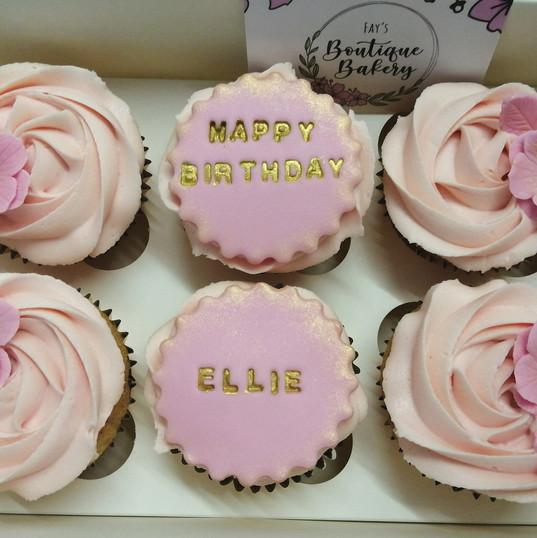 Personalised pink cupcakes