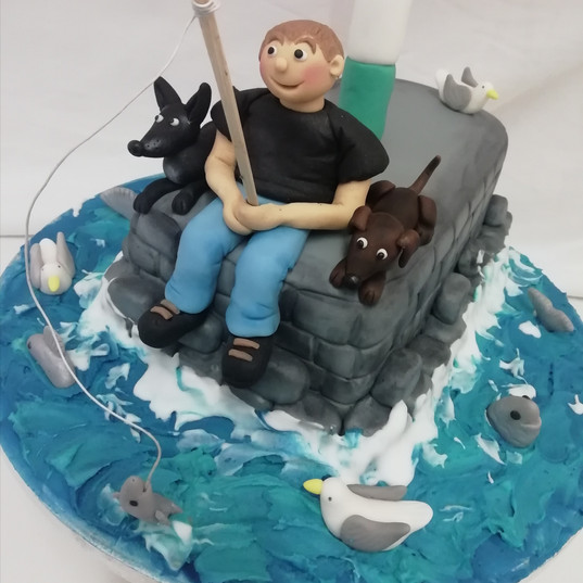 Fisherman cake with dogs