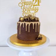 Chocolate cake with caramel drip & Ferrero Rochers