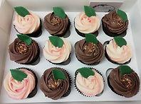 Chocolate & vanilla rose cupcakes