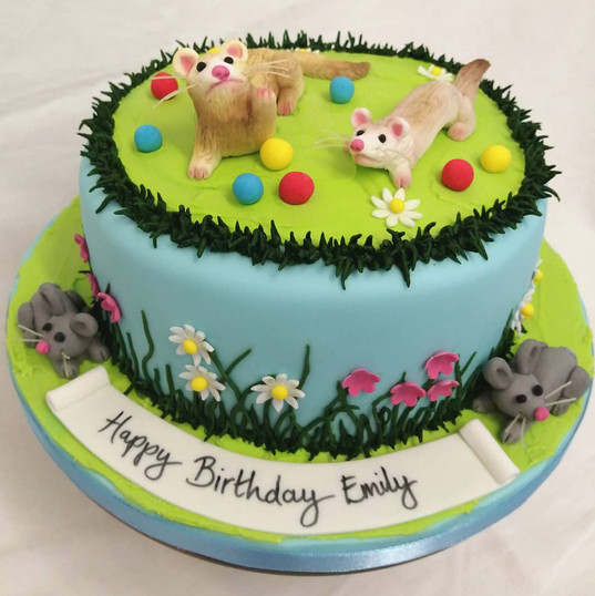 Ferret themed birthday cake