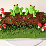 Frogs on a log cake