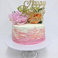 Chocolate ganache cake with fresh flowers