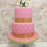 Pink & gold 2 tier cake