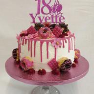 Pink drip & donut cake