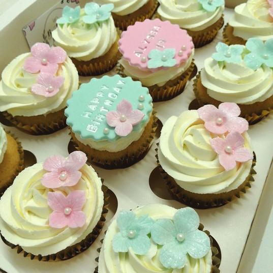 Pretty pink & jade flower cupcakes