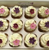 Purple flower cupcakes