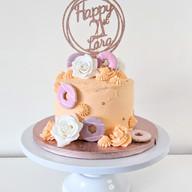 Vegan chocolate & caramel buttercream cake