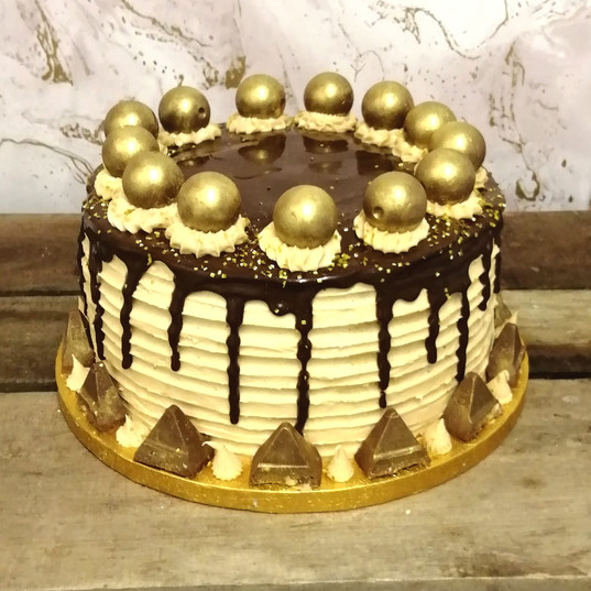 Luxury chocolate & caramel gold drip cake