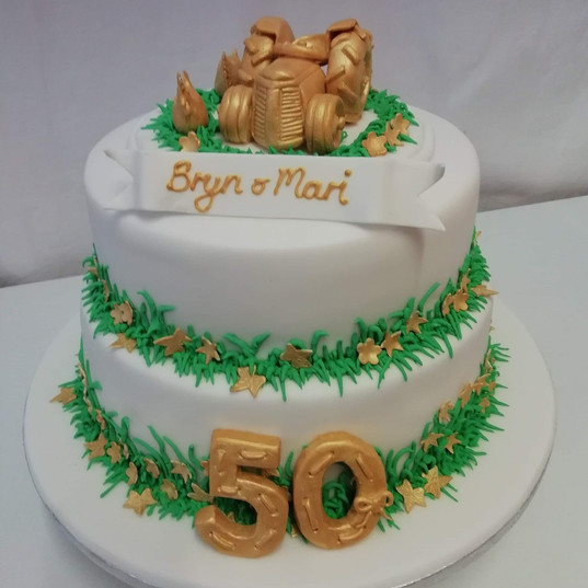 Goden wedding anniversary cake