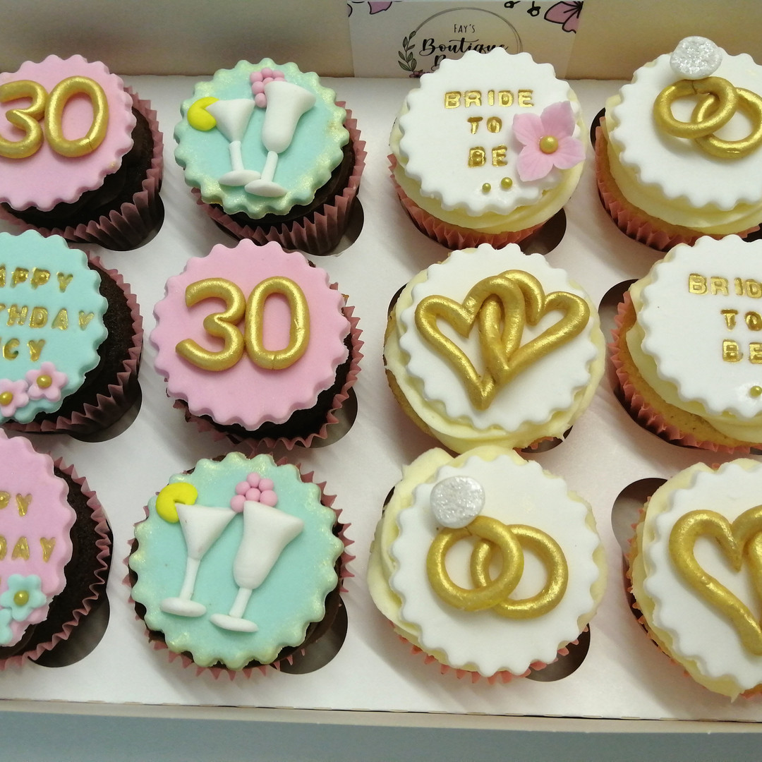 Engagement/birthday cupcakes