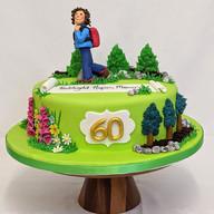 Walking themed 60th birthday cake