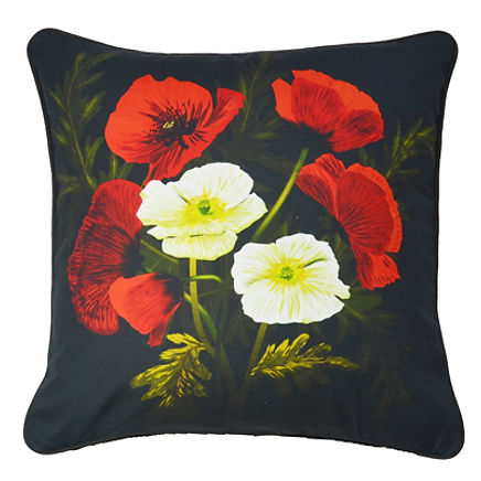 Cushion cover with floral illustration of the Poppies // 24 inch square