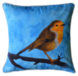 Cushion cover with illustration of the Robin in blue // 16 inch square
