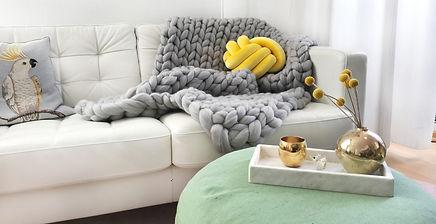 Chunky Knitted Blanket Cosima, light grey
