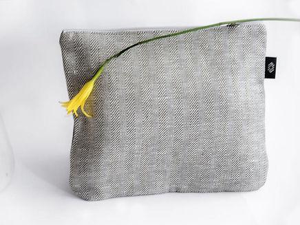 White Linen Large Zipper Pouch, 28 x 23 cm