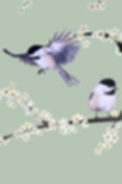 Wall decal with the illustration of the Chickadees