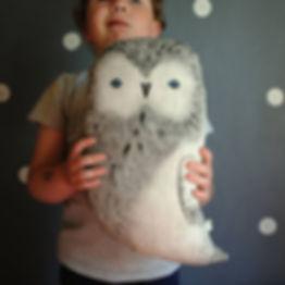 Arctic Owl Linen Pillow Nursery Decor Woodland Animal Totem