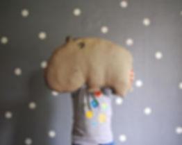 Linen HippoPillow Nursery Decor Animal Totem