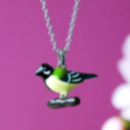 Necklace with enamelled Great tit charm 16 inch
