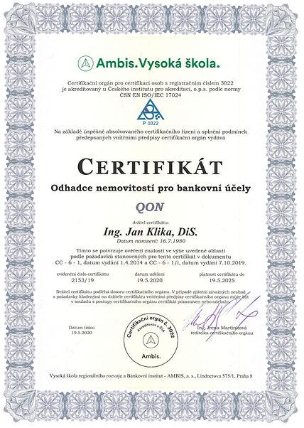 Jan Klika Certifikace QON 2153 2020