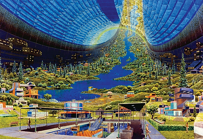 Interior of a Stanford torus, painted by Donald E. Davis
