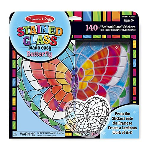 melissa and doug stained glass made easy butterfly craft kit