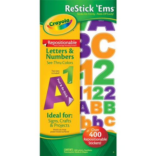 crayola restick ems  400 repositionable letter and number stickers  black,