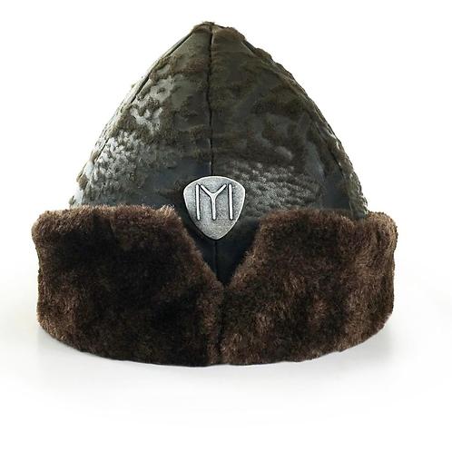 IYI Ertugrul Genuine Leather Bork Hat Green. MODEL: Deri Yeşil