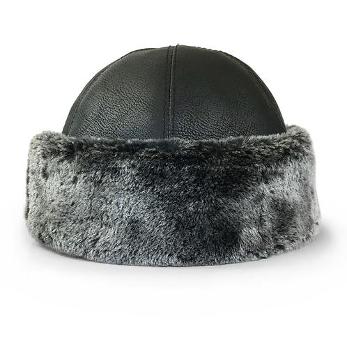 Turkish Ottoman Faux Fur Leather Alp Hat Bork Ertugrul IYI - Black