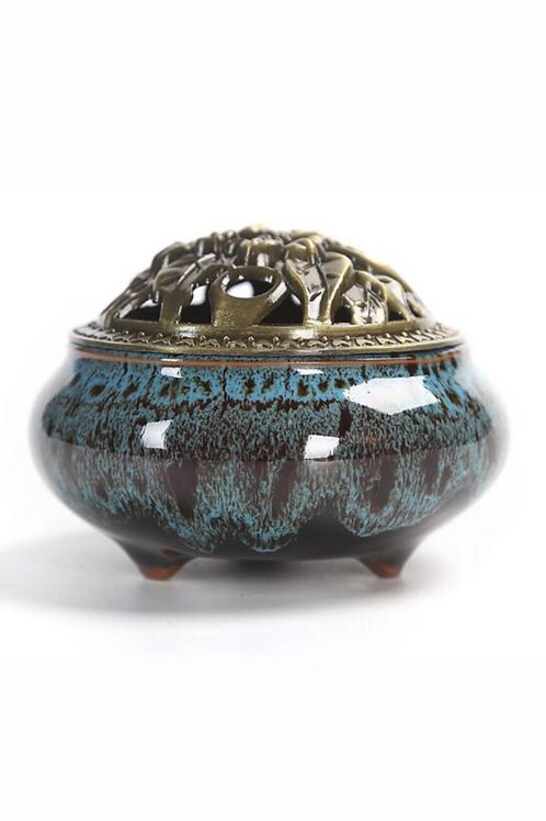 Ceramic Decorative Bakhoor Incense Burner Censer Metal Lid (Blue Patterned)