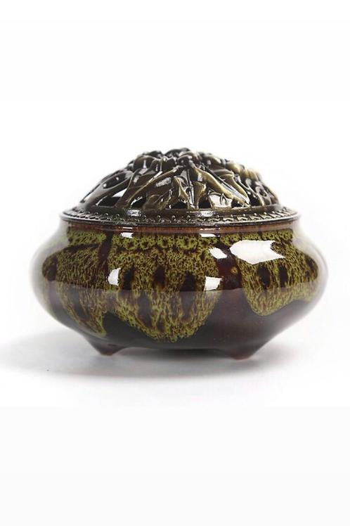Ceramic Decorative Bakhoor Incense Burner Censer Metal Lid (Green Patterned)