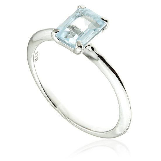 Blue Topaz Rectangle Silver Ring