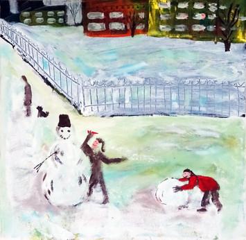 Лепят снеговика
