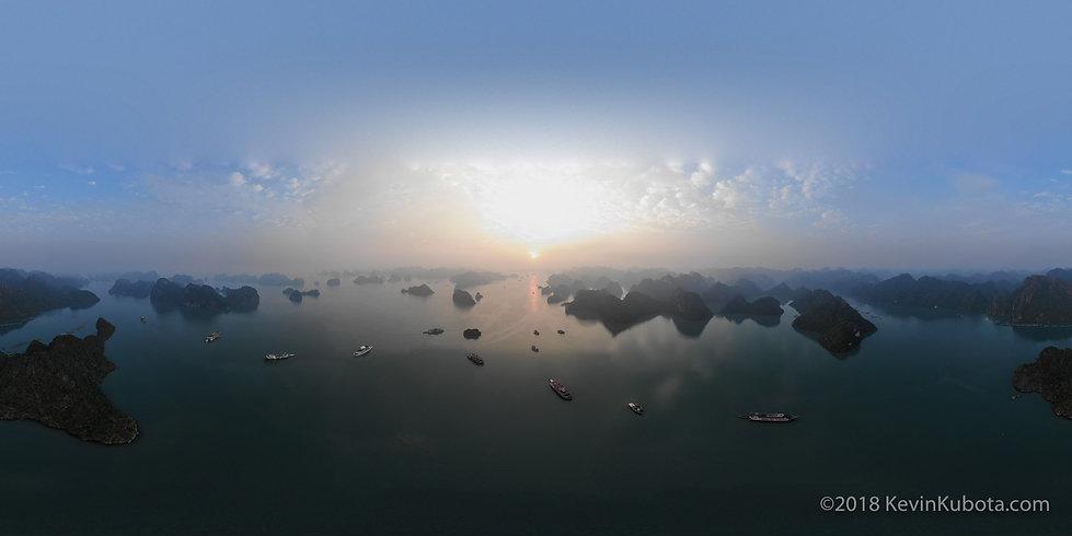 ha long bay vietnam aerial panorama by k