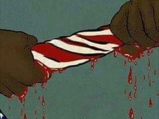 THIS FLAG IS DRENCHED IN BLOOD