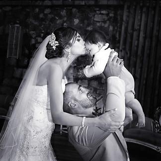 Wedding couple with baby