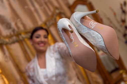 Bride showing shoes