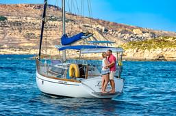 Pre wedding sailing boat