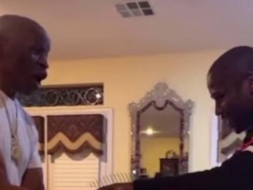 Floyd Mayweather Arm Wrestles His 68-Year-Old Father Floyd Mayweather Sr.