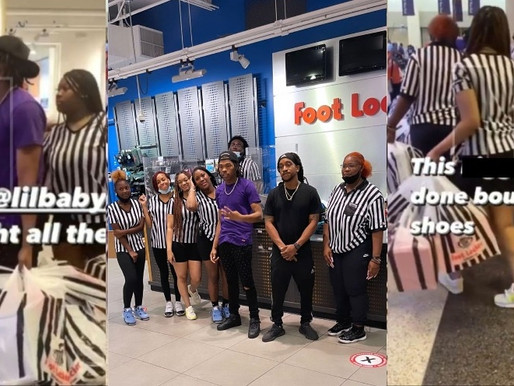 Lil Baby buys out Entire Footlocker giving back to the Atlanta community helping Kids in Need