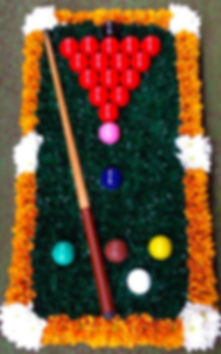 Snooker table wreath with snooker balls