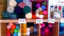Display of wool and yarn