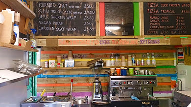 Afro Caribbean food, inside stall