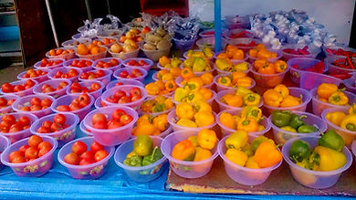 Plastic bowl display of various vegetables